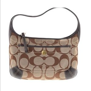 Coach brown signature hobo bag with dustbag